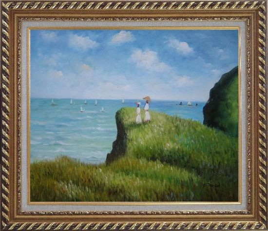 Framed La promenade sur la falaise, Monet Reproduction Oil Painting Seascape France Impressionism Exquisite Gold Wood Frame 26 x 30 Inches