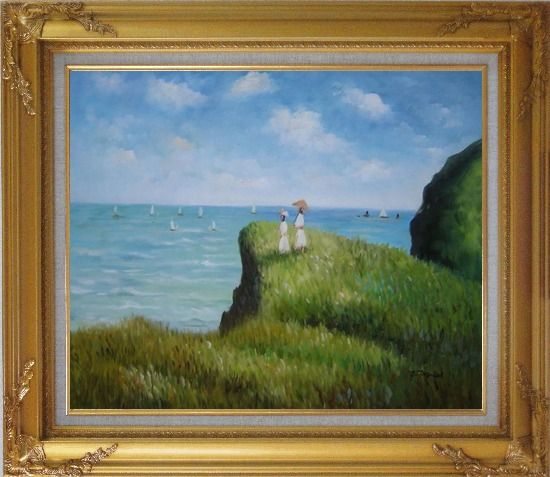Framed La promenade sur la falaise, Monet Reproduction Oil Painting Seascape France Impressionism Gold Wood Frame with Deco Corners 27 x 31 Inches