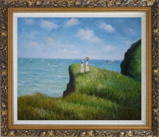 Framed La promenade sur la falaise, Monet Reproduction Oil Painting Seascape France Impressionism Ornate Antique Dark Gold Wood Frame 26 x 30 Inches
