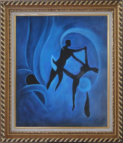 Framed Nude Dancing Couple Joyful Moment Oil Painting Portraits Dancer Modern Exquisite Gold Wood Frame 30 x 26 Inches
