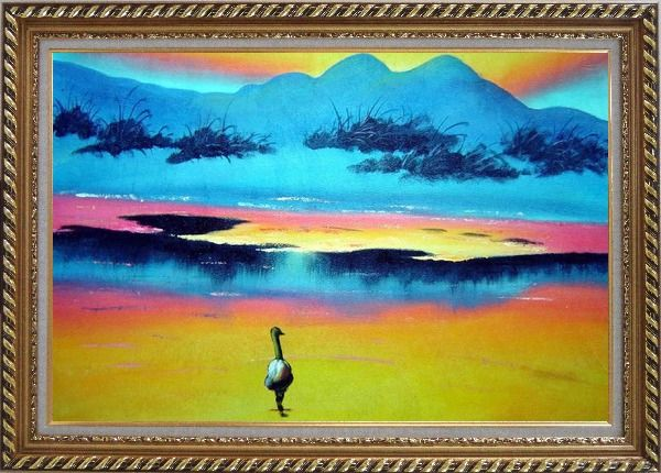 Framed Duck Walking in Beach of Lake Oil Painting Landscape River Animal Modern Exquisite Gold Wood Frame 30 x 42 Inches