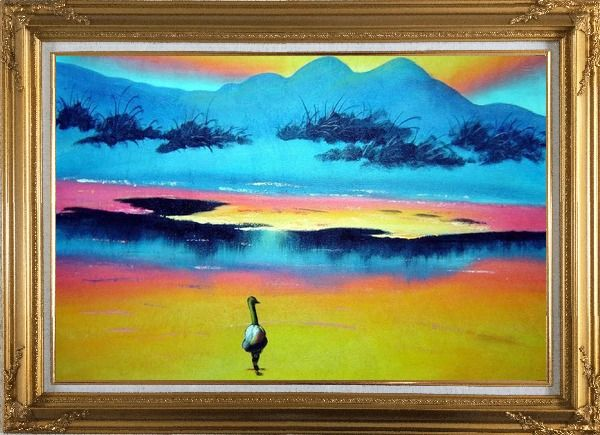 Framed Duck Walking in Beach of Lake Oil Painting Landscape River Animal Modern Gold Wood Frame with Deco Corners 31 x 43 Inches