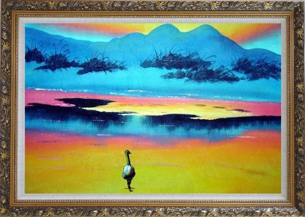 Framed Duck Walking in Beach of Lake Oil Painting Landscape River Animal Modern Ornate Antique Dark Gold Wood Frame 30 x 42 Inches
