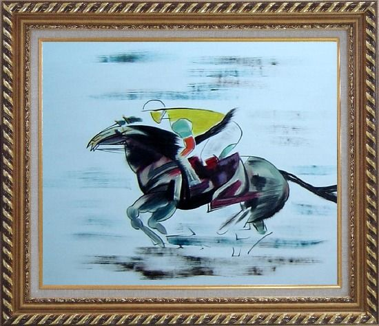 Framed Racing Horse and Jockey Oil Painting Portraits Animal Modern Exquisite Gold Wood Frame 26 x 30 Inches