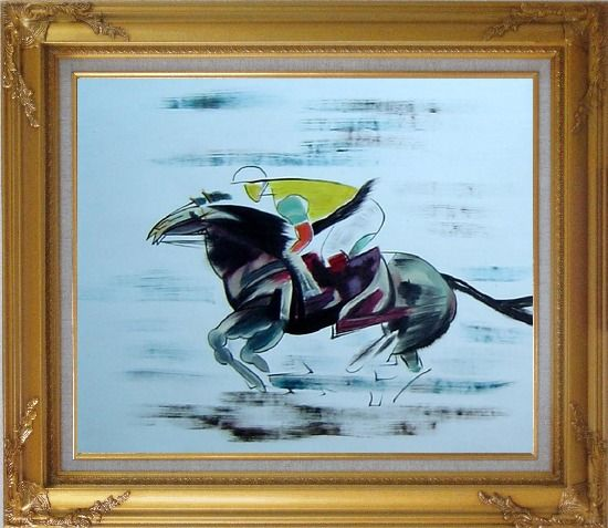 Framed Racing Horse and Jockey Oil Painting Portraits Animal Modern Gold Wood Frame with Deco Corners 27 x 31 Inches