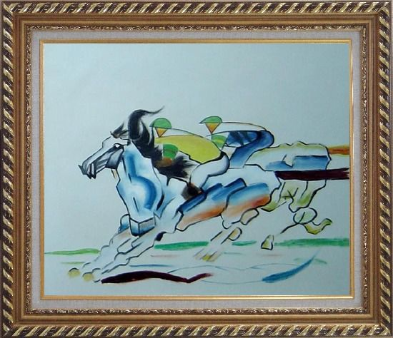 Framed Riders Compete in Horse Racing Oil Painting Portraits Animal Modern Exquisite Gold Wood Frame 26 x 30 Inches