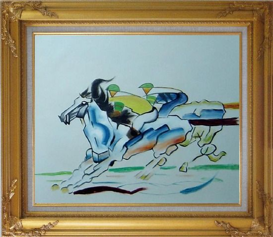 Framed Riders Compete in Horse Racing Oil Painting Portraits Animal Modern Gold Wood Frame with Deco Corners 27 x 31 Inches