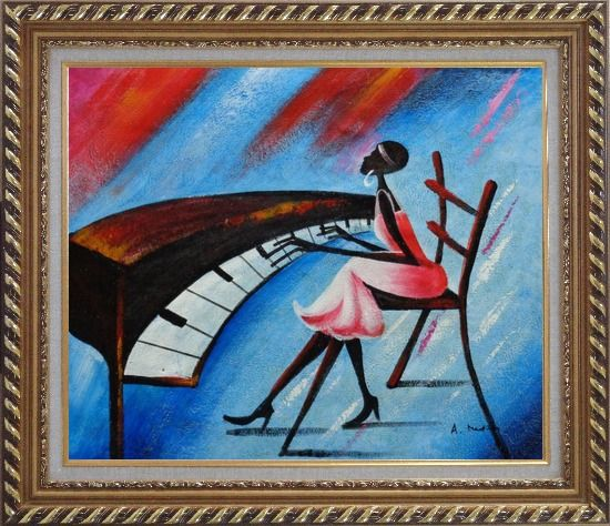 Framed Black Girl Play Piano In a Blue Setting Oil Painting Portraits Woman Musician Modern Exquisite Gold Wood Frame 26 x 30 Inches