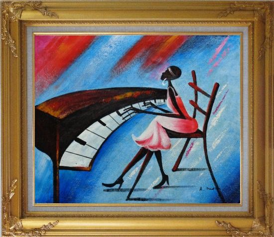 Framed Black Girl Play Piano In a Blue Setting Oil Painting Portraits Woman Musician Modern Gold Wood Frame with Deco Corners 27 x 31 Inches