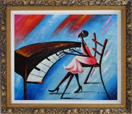 Framed Black Girl Play Piano In a Blue Setting Oil Painting Portraits Woman Musician Modern Ornate Antique Dark Gold Wood Frame 26 x 30 Inches