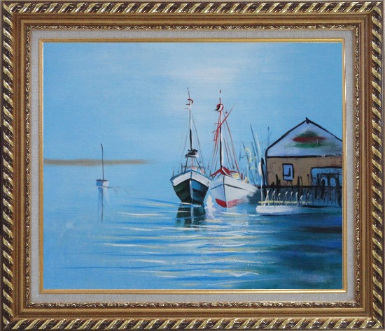 Framed Two Small Boats on the Deck Oil Painting Impressionism Exquisite Gold Wood Frame 26 x 30 Inches