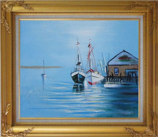 Framed Two Small Boats on the Deck Oil Painting Impressionism Gold Wood Frame with Deco Corners 27 x 31 Inches