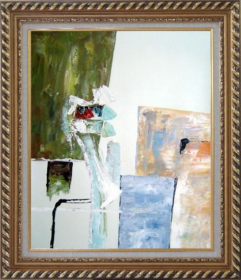 Framed Modern Green, White and Blue Oil Painting Nonobjective Exquisite Gold Wood Frame 30 x 26 Inches