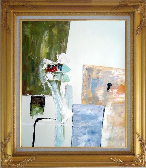 Framed Modern Green, White and Blue Oil Painting Nonobjective Gold Wood Frame with Deco Corners 31 x 27 Inches