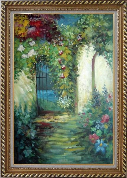 Framed Charming Garden Gate Oil Painting Impressionism Exquisite Gold Wood Frame 42 x 30 Inches