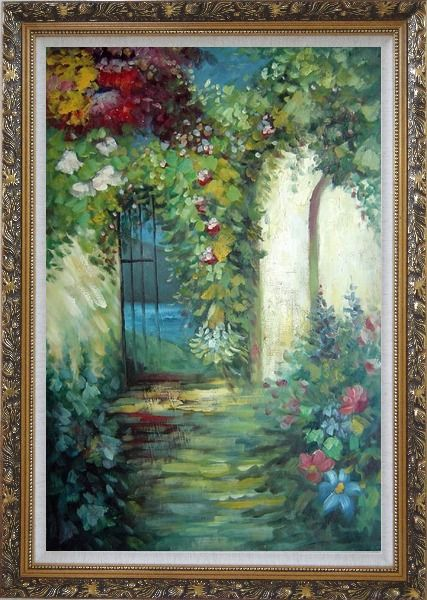 Framed Charming Garden Gate Oil Painting Impressionism Ornate Antique Dark Gold Wood Frame 42 x 30 Inches