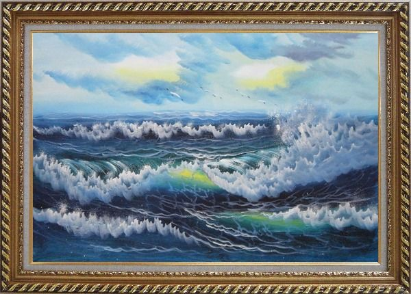 Framed White Waves and Blue Sea On a Background of Cloudy Sky Oil Painting Seascape Naturalism Exquisite Gold Wood Frame 30 x 42 Inches