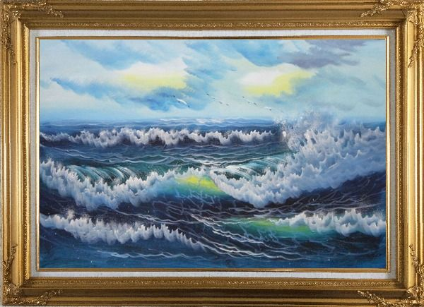 Framed White Waves and Blue Sea On a Background of Cloudy Sky Oil Painting Seascape Naturalism Gold Wood Frame with Deco Corners 31 x 43 Inches