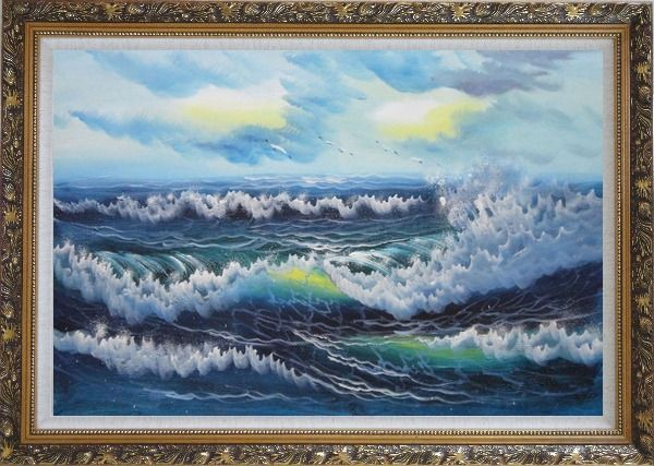 Framed White Waves and Blue Sea On a Background of Cloudy Sky Oil Painting Seascape Naturalism Ornate Antique Dark Gold Wood Frame 30 x 42 Inches