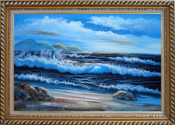 Framed Beautiful Blue Waves in the Sea with Blue Sky Oil Painting Seascape Naturalism Exquisite Gold Wood Frame 30 x 42 Inches