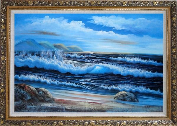 Framed Beautiful Blue Waves in the Sea with Blue Sky Oil Painting Seascape Naturalism Ornate Antique Dark Gold Wood Frame 30 x 42 Inches