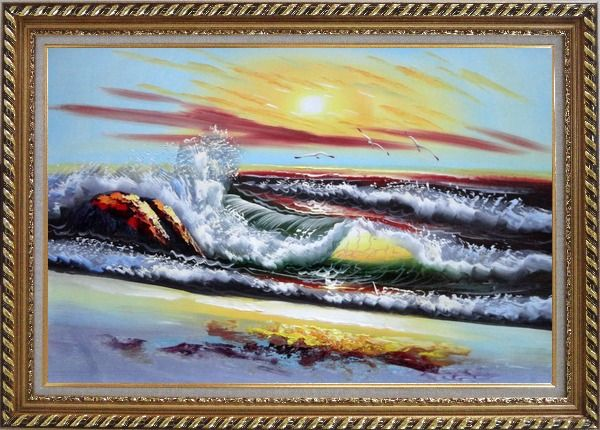 Framed Storm Sea Waves and Flying Sea Birds On Sunset Oil Painting Seascape Naturalism Exquisite Gold Wood Frame 30 x 42 Inches