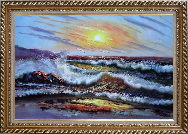 Framed  Flying Birds, Waves Crashing On Beach Rock Oil Painting Seascape Naturalism Exquisite Gold Wood Frame 30 x 42 Inches