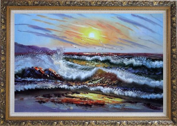 Framed  Flying Birds, Waves Crashing On Beach Rock Oil Painting Seascape Naturalism Ornate Antique Dark Gold Wood Frame 30 x 42 Inches