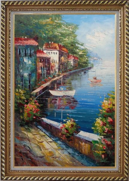 Framed Romantic Stroll Along the Coast Oil Painting Mediterranean Naturalism Exquisite Gold Wood Frame 42 x 30 Inches