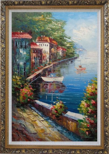 Framed Romantic Stroll Along the Coast Oil Painting Mediterranean Naturalism Ornate Antique Dark Gold Wood Frame 42 x 30 Inches
