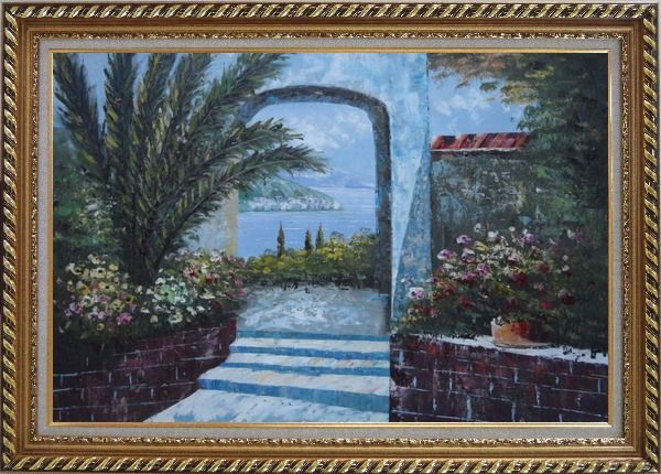 Framed View of of Mediterranean Sea through Arch Oil Painting Garden Naturalism Exquisite Gold Wood Frame 30 x 42 Inches