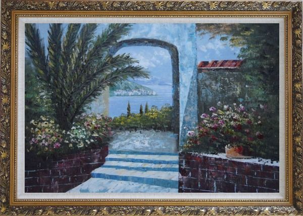 Framed View of of Mediterranean Sea through Arch Oil Painting Garden Naturalism Ornate Antique Dark Gold Wood Frame 30 x 42 Inches