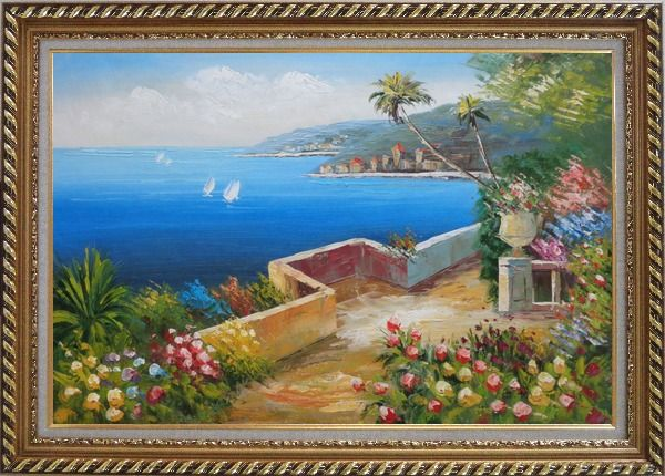 Framed Mediterranean Dream Flower Garden Oil Painting Naturalism Exquisite Gold Wood Frame 30 x 42 Inches