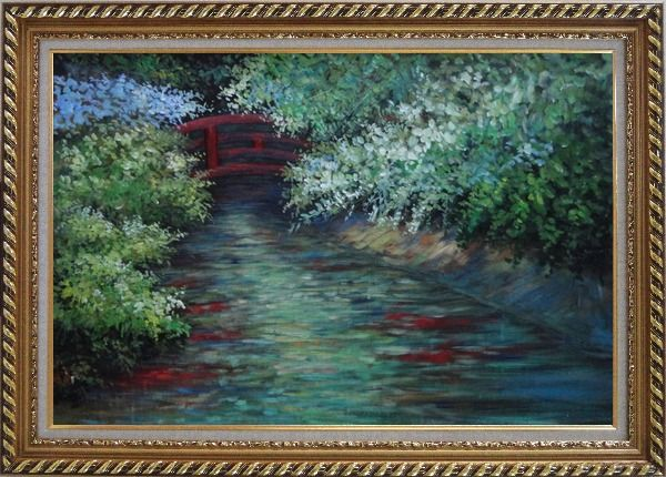 Framed Red Bridge on Flower Covered Tranquil River Oil Painting Landscape Naturalism Exquisite Gold Wood Frame 30 x 42 Inches