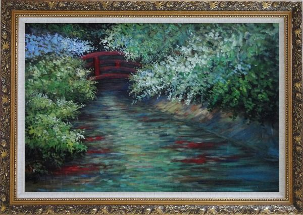 Framed Red Bridge on Flower Covered Tranquil River Oil Painting Landscape Naturalism Ornate Antique Dark Gold Wood Frame 30 x 42 Inches