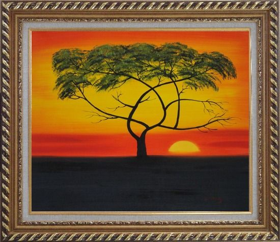 Framed African Lonely Tree at Red Sunset Oil Painting Landscape Naturalism Exquisite Gold Wood Frame 26 x 30 Inches