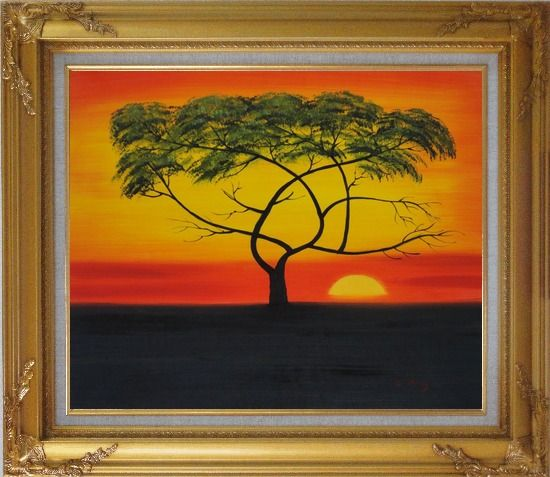 Framed African Lonely Tree at Red Sunset Oil Painting Landscape Naturalism Gold Wood Frame with Deco Corners 27 x 31 Inches