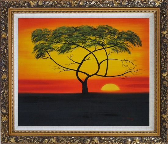 Framed African Lonely Tree at Red Sunset Oil Painting Landscape Naturalism Ornate Antique Dark Gold Wood Frame 26 x 30 Inches