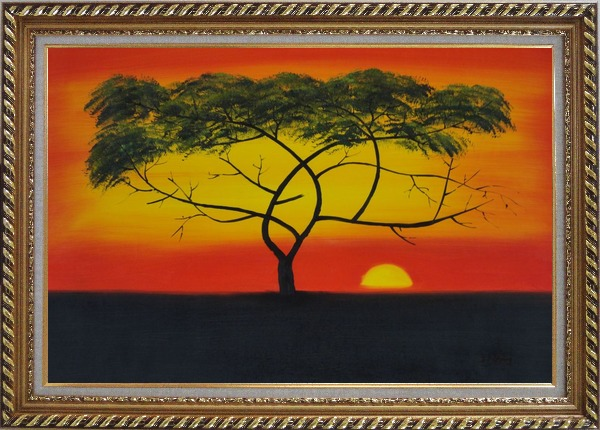 Framed African Lonely Tree at Red Sunset Oil Painting Landscape Naturalism Exquisite Gold Wood Frame 30 x 42 Inches