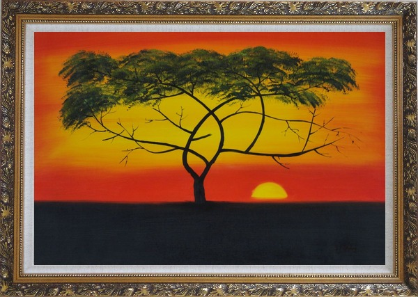Framed African Lonely Tree at Red Sunset Oil Painting Landscape Naturalism Ornate Antique Dark Gold Wood Frame 30 x 42 Inches