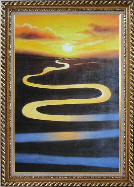 Framed Winding River on Sunset Oil Painting Landscape Naturalism Exquisite Gold Wood Frame 42 x 30 Inches