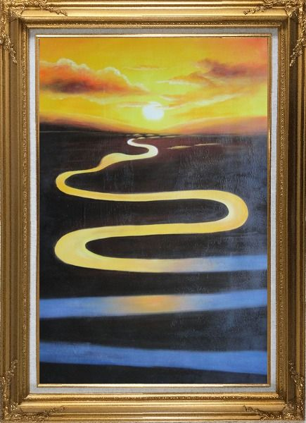 Framed Winding River on Sunset Oil Painting Landscape Naturalism Gold Wood Frame with Deco Corners 43 x 31 Inches