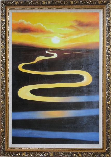 Framed Winding River on Sunset Oil Painting Landscape Naturalism Ornate Antique Dark Gold Wood Frame 42 x 30 Inches
