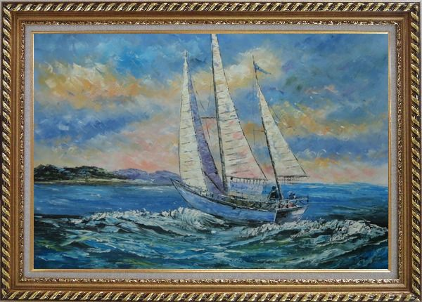 Framed Fully Riggled White Sailing Boat on Sea Oil Painting Boating Naturalism Exquisite Gold Wood Frame 30 x 42 Inches