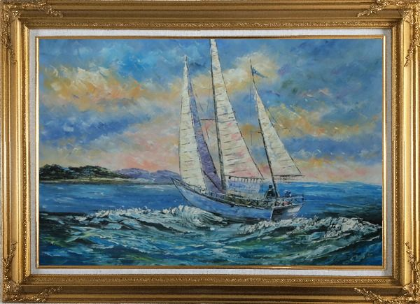 Framed Fully Riggled White Sailing Boat on Sea Oil Painting Boating Naturalism Gold Wood Frame with Deco Corners 31 x 43 Inches