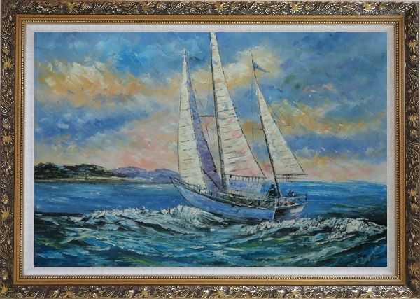 Framed Fully Riggled White Sailing Boat on Sea Oil Painting Boating Naturalism Ornate Antique Dark Gold Wood Frame 30 x 42 Inches
