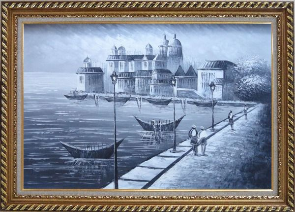 Framed Walking in Venice, Black and White Oil Painting Italy Impressionism Exquisite Gold Wood Frame 30 x 42 Inches