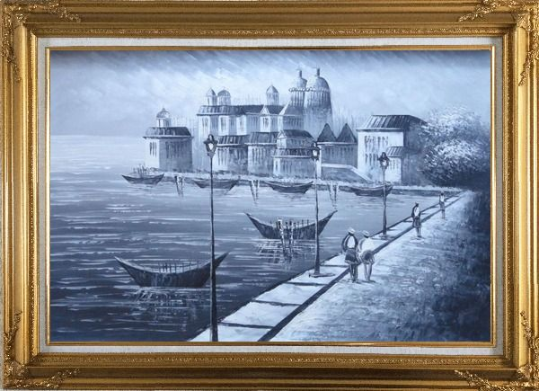 Framed Walking in Venice, Black and White Oil Painting Italy Impressionism Gold Wood Frame with Deco Corners 31 x 43 Inches