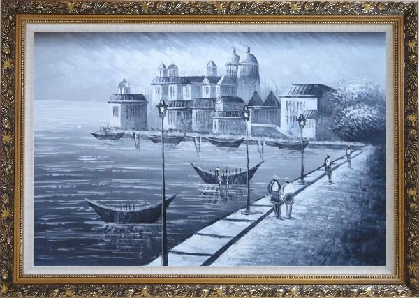 Framed Walking in Venice, Black and White Oil Painting Italy Impressionism Ornate Antique Dark Gold Wood Frame 30 x 42 Inches