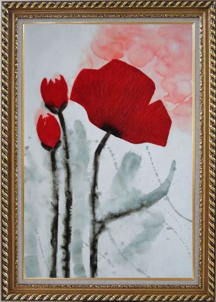 Framed Modern Red Flower Blooming Oil Painting Exquisite Gold Wood Frame 42 x 30 Inches